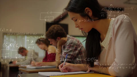 Calculations on a classroom background Live Action