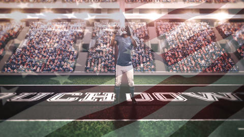 Quarterback jumping to catch the ball on an american football stadium Animation