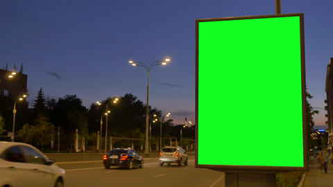 modern gray poster pillar with green luminous light Live Action