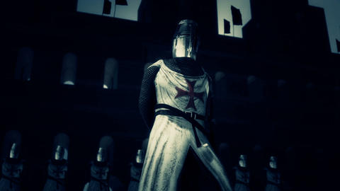 Knights of the Templar in Full Armor in a Fortress Footage