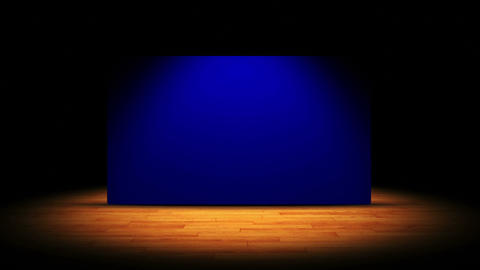 Theater Stage, Curtain and Blue Screen Monitor, 4k Animation