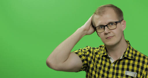 Caucasian man showing something. Place for your logo or text. Chroma key Footage