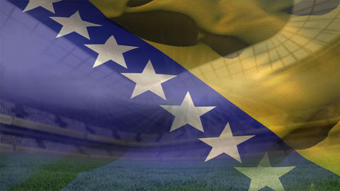 Bosnia and Herzegovina flag on a stadium Animation