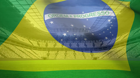 Brazilian flag on a stadium background Live Action