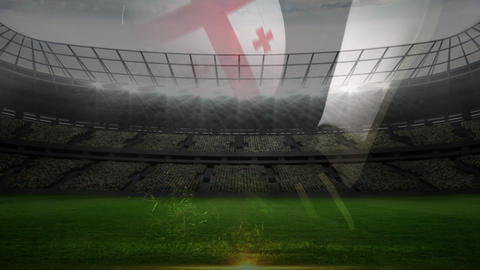 Strike of England rugby ball with field backdrop Animation