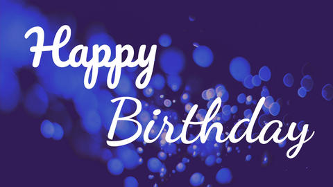 Happy birthday text with bubbles flow on background Animation