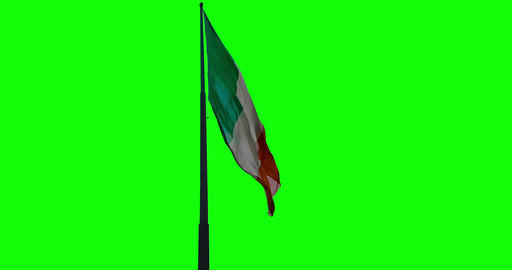 waving fabric texture of the tricolor flag of italy, italian patriotic concept on chroma Live Action