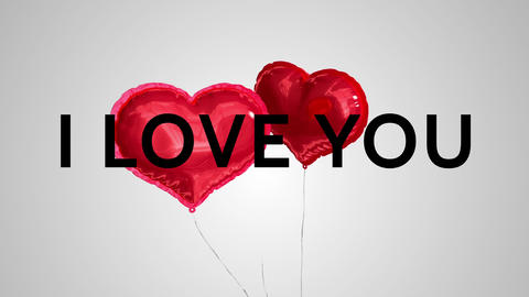 I love you with balloon hearts Animation