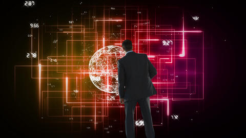 Businessman from back looking at a digital earth on an electronic background Animation