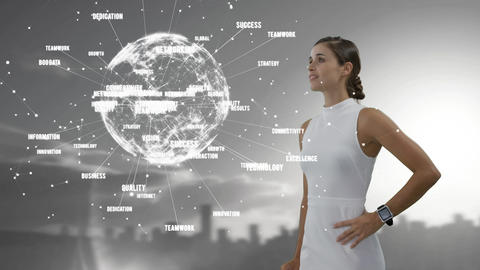 Attractive businesswoman with globe Animation
