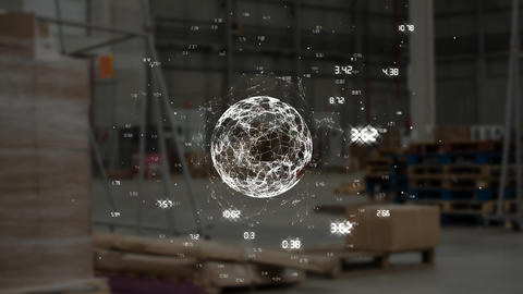 Numbers around a spinning digital globe Animation