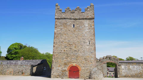 Old medieval ruins of Castle Ward in Northern Ireland Footage