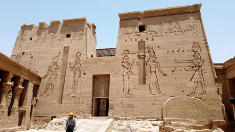 Aswan, Egypt - 2019-04-28 - Philae Temple - Entrance is Protected by Giant Stone Footage