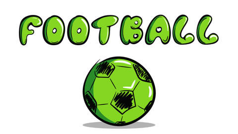 Green soccerball and football word Animation