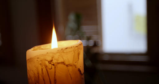 Candle burning at home 4k Live Action