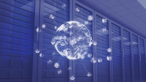 Spinning digital globe in data server center Animation
