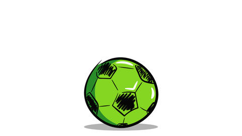Green soccerball on white back Animation