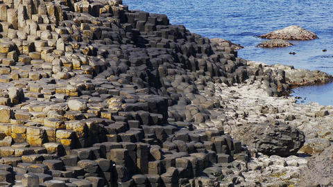 Famous rocks of Giants Causeway in North Ireland Footage