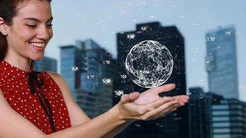 Young woman holding an earth animation between her hands Animation