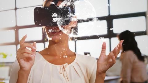 Woman using virtual reality glasses Animation