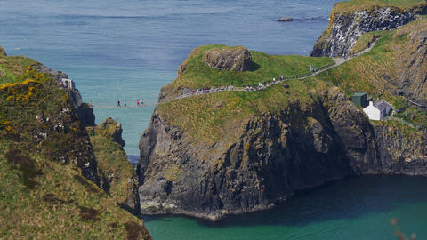 Carrick-A-Rede rope bridge in Northern Ireland Live Action