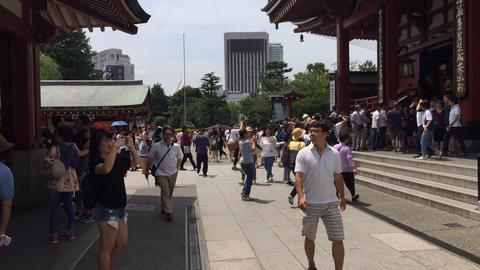 Sensoji Tourists stock footage