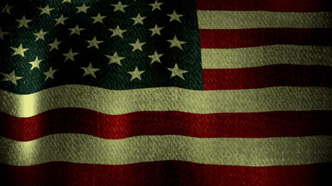 USA Flag Waving Slowly (Seamless Lopping Video, Realistic, Fabric) Animation