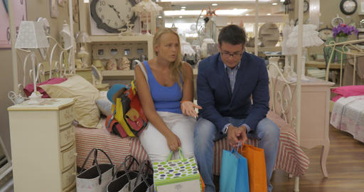 Family couple having a quarrel in the store Footage