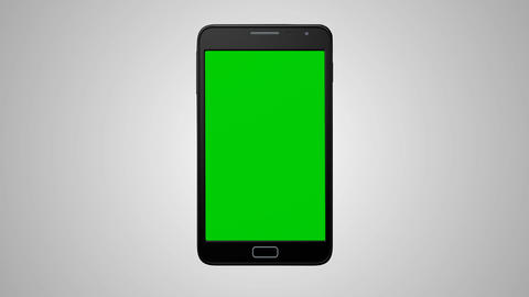 Smartphone turns on on white background. Easy customizable green screen Animation
