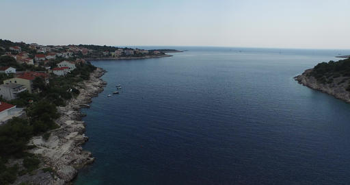 Aerial drone scene of Croatian bay, Dalmatian coast. Camera moves slowly. Panora Footage
