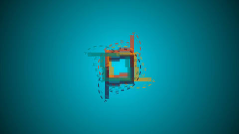 Motion background with animated squares and circles. Seamless loop CG動画素材