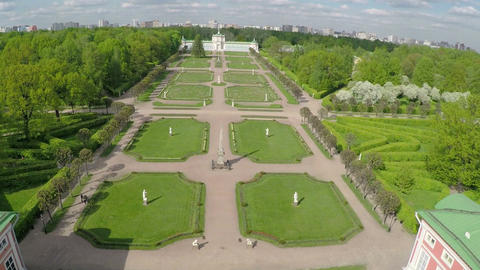 Series of palaces and gardens Tsaritsyno, aerial view Footage