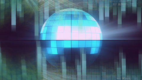 Rotating of bright blue disco ball with blue and black background Animation