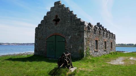 Old medieval ruins of Castle Ward in Northern Ireland Live Action