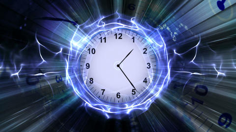 Clock in Particles Rings Animation, Rendering, Background, 4k Animation