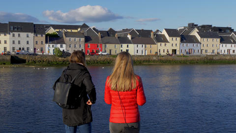 Girls on a vacation trip in the city of Galway Ireland Footage