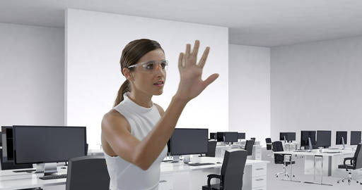 Businesswoman wearing scientific glasses sliding a digital screen 4k Animation