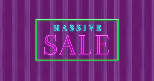 Animation of massive sale text in a rectangle sparking 4k Animation