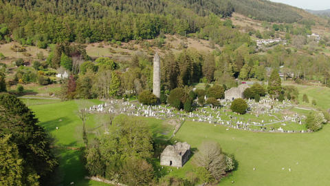 Drone flight over Glendalough - the famous landmark in Ireland Live Action