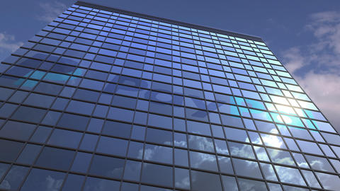 Logo of PAYPAL on a media facade with reflecting cloudy sky, editorial animation Live Action