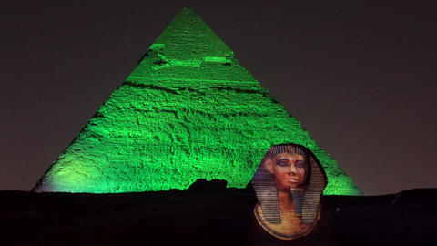 Cairo, Egypt - 2019-05-03 - Pyramid Light Show - Sphinx and Pyramid Go Dark Live Action
