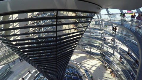 Glass dome of the Reichstag. Berlin. Germany. 4K Footage