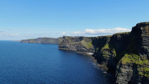 Most famous landmark in Ireland - The Cliffs of Moher aerial drone footage Live Action