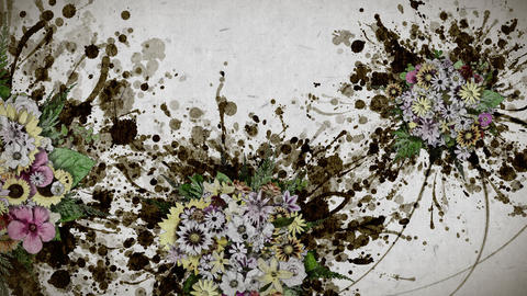 flowers and ink paint strokes paper texture background CG動画