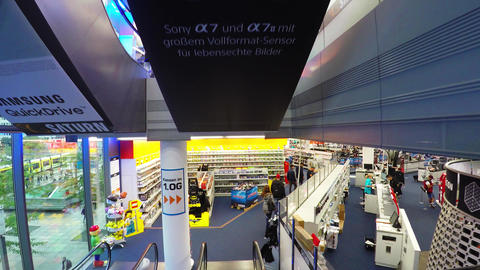 Electronics store. Counters, appliances. Berlin. Germany. 4K Live Action