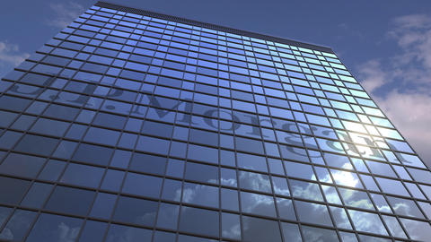Logo of JPMORGAN on a media facade with reflecting cloudy sky, editorial Live Action