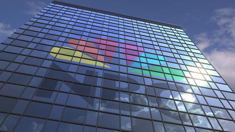 Logo of NBC on a media facade with reflecting cloudy sky, editorial animation Live Action