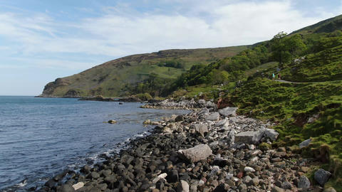Flight over Murlough Bay in North Ireland - a beautiful landmark Footage