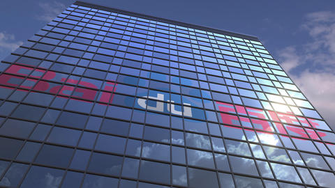 Logo of BAIDU on a media facade with reflecting cloudy sky, editorial animation Live Action