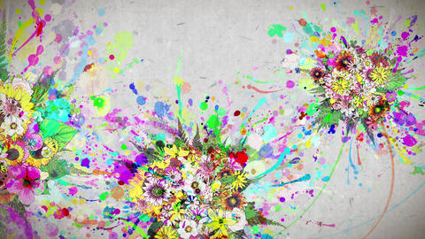 flowers and color paint strokes paper texture background Animation